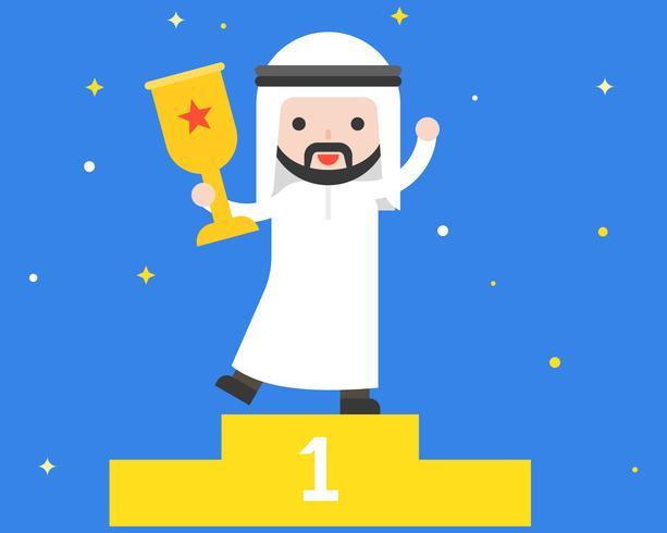 Glücklicher netter arabischer Geschäftsmann, der Trophäe, Geschäftslage-Sieger und Führerkonzept hält vektor