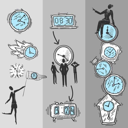 Uhr-Banner eingestellt vektor