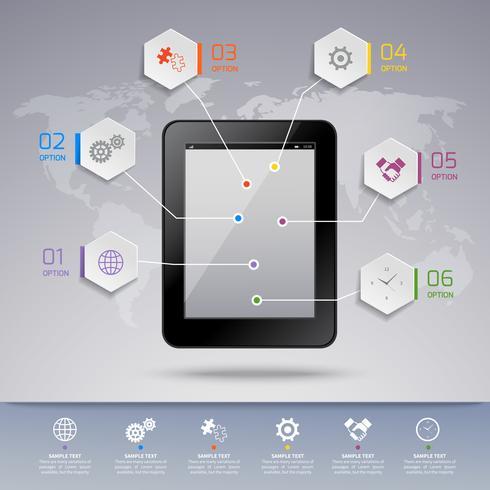 Infografisk mall för tablett vektor
