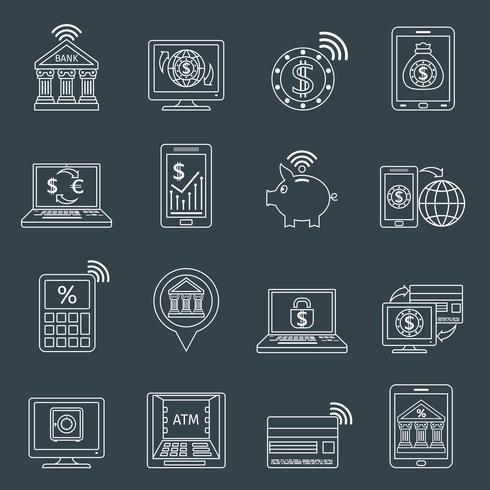 Mobile Banking Icons Umriss vektor