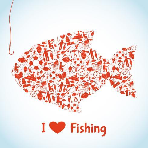 kärlek fiske begrepp vektor