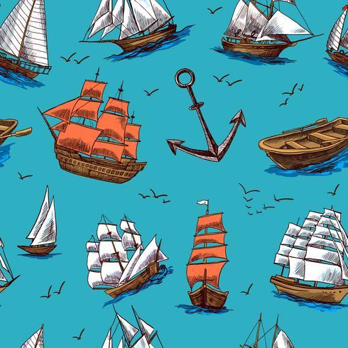Schiffe und Boote skizzieren nahtloses Muster vektor