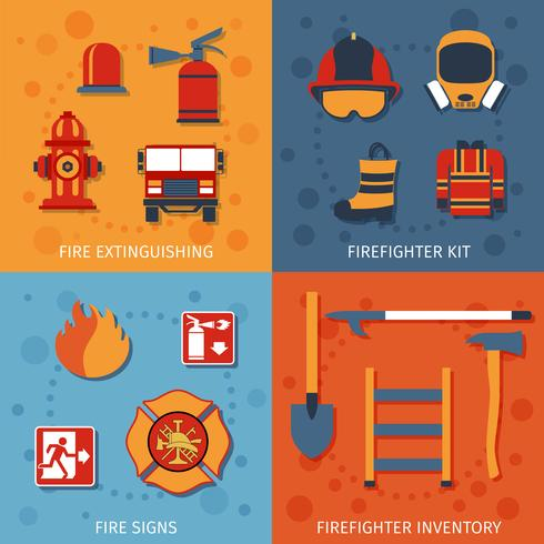 Feuerwehrmann Flat Set vektor