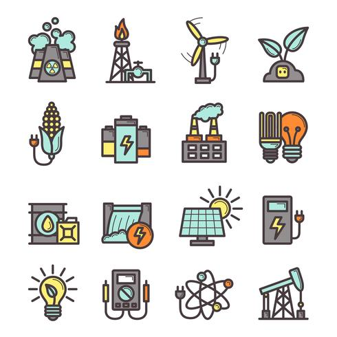 Energie Icons Set vektor