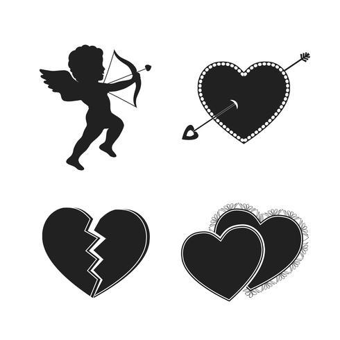 Set von Valentine Tattoos vektor