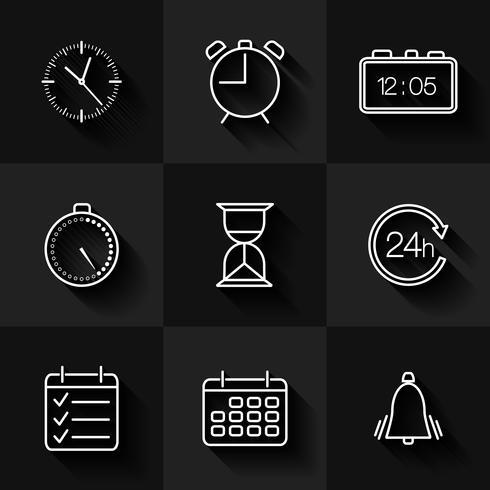 Inställning av konturdatum, tid och kalenderikoner vektor