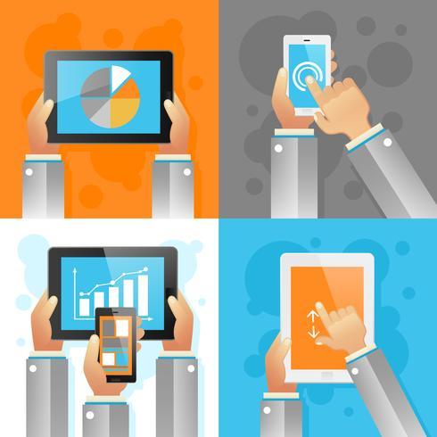 Hände mit mobilen Geräten vektor