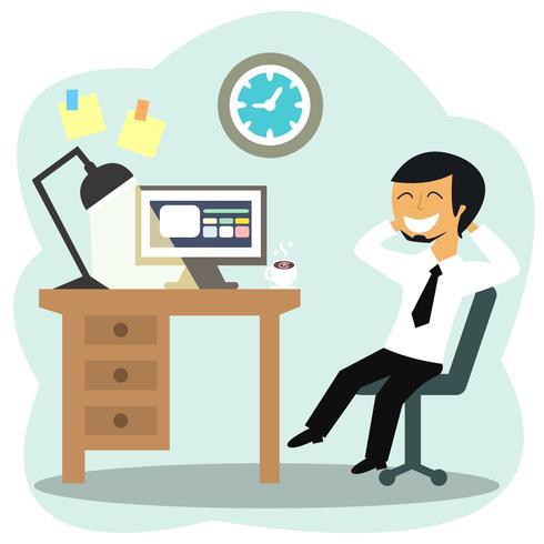 Glücklicher Büroangestellter vektor