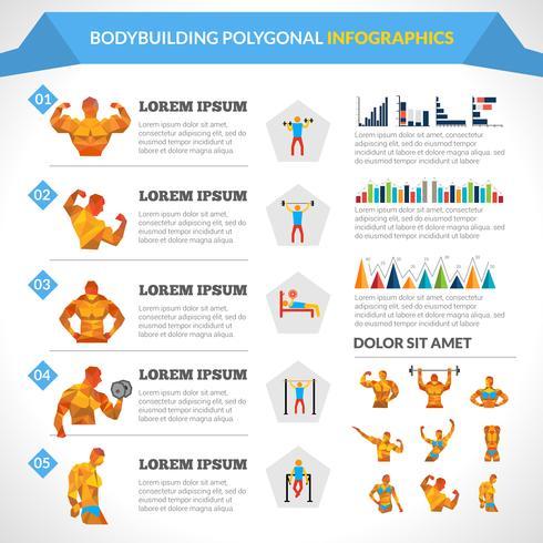 Bodybuilding Polygonale Infografiken vektor