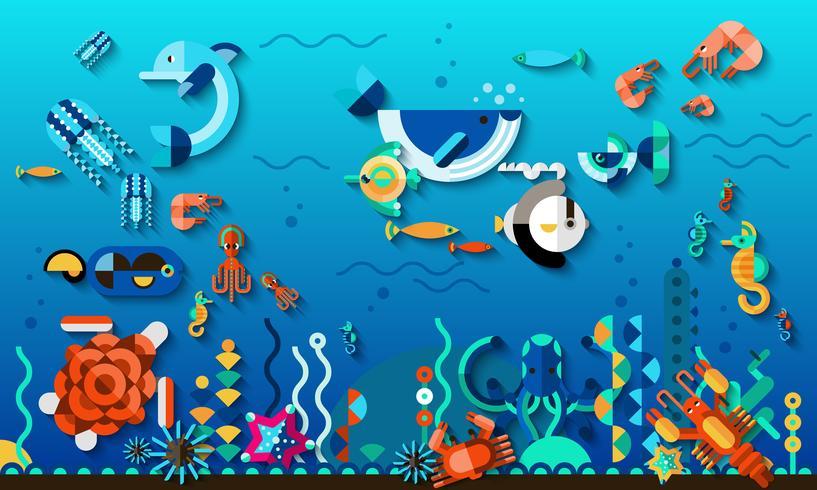 Unterwasserweltkonzept vektor