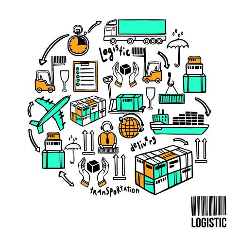 Logistische Skizze Konzept vektor