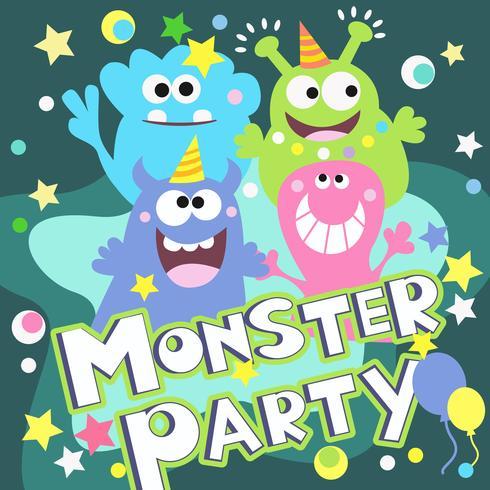 monster party affisch vektor