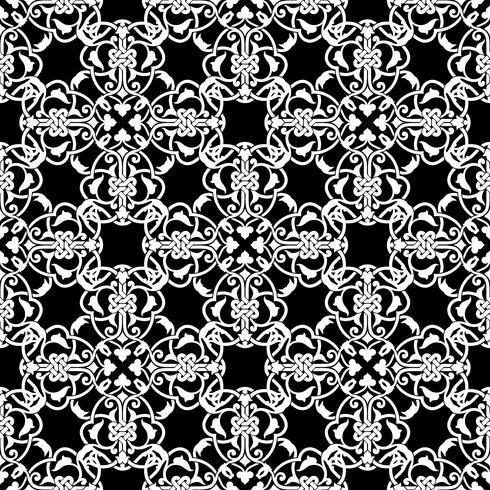Seamless svart och vitt mönster i arabisk eller muslimstil vektor