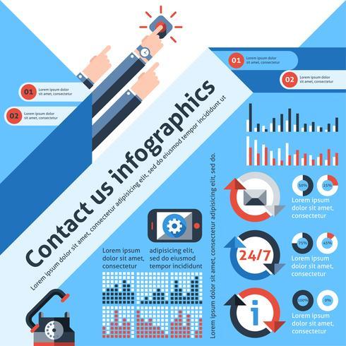 Kontaktieren Sie uns mit Infografiken vektor