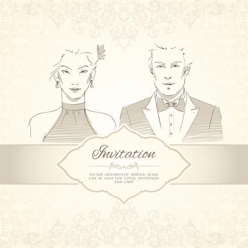 Klassiskt bröllopinbjudningskort vektor