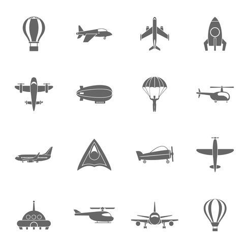 Flygplansikoner som är svarta vektor
