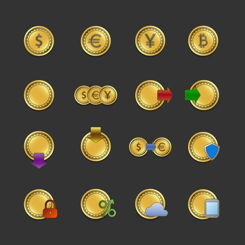 Iconset für elektronische Zahlungen und Transaktionen vektor