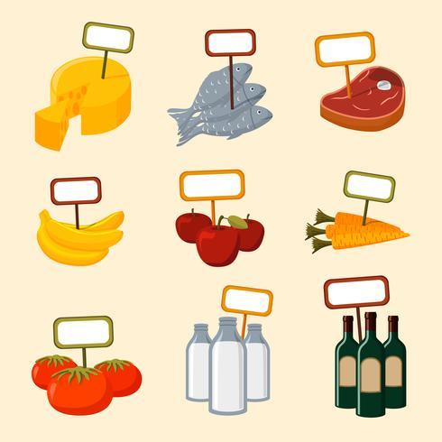 Supermarktnahrungsmitteleinzelteile mit leeren Zeichen vektor