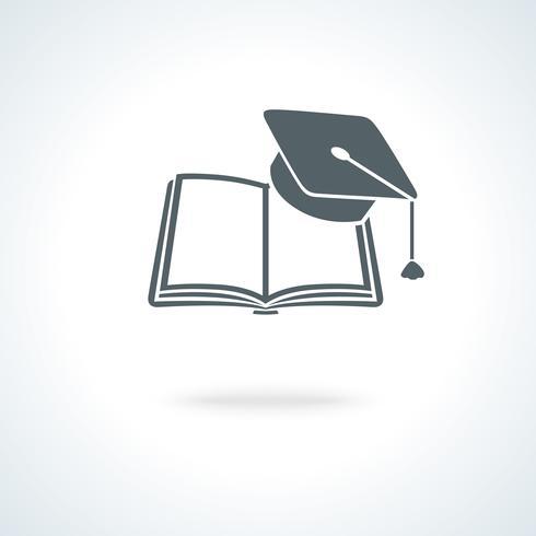 Offenes Buch mit quadratischer akademischer Kappe vektor