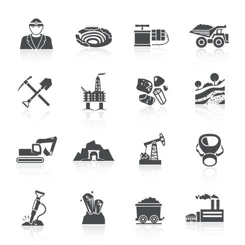 Mining Icons Schwarz vektor