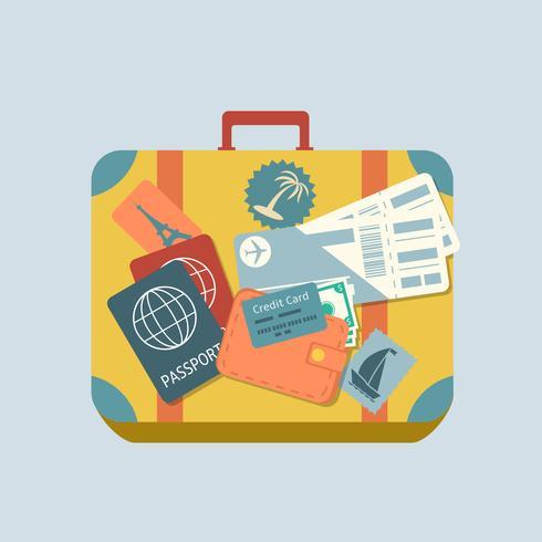 Reisekoffer mit Aufklebern vektor