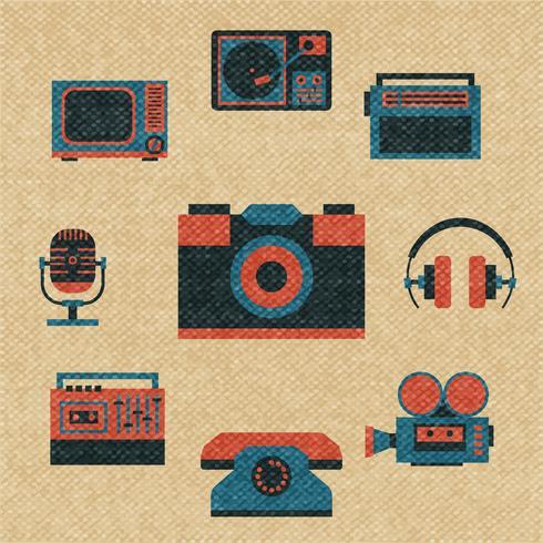 vintage media ikoner vektor