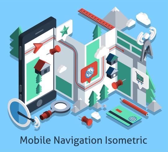 Mobilnavigering isometrisk vektor