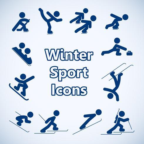 Vinter sport ikoner uppsättning vektor