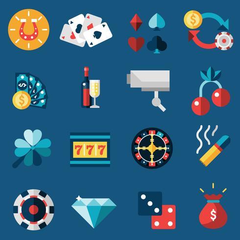 Casino ikoner Set vektor