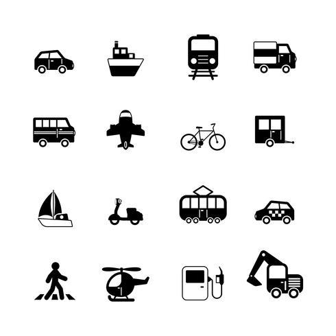 Sammlung von Transportpiktogrammen vektor