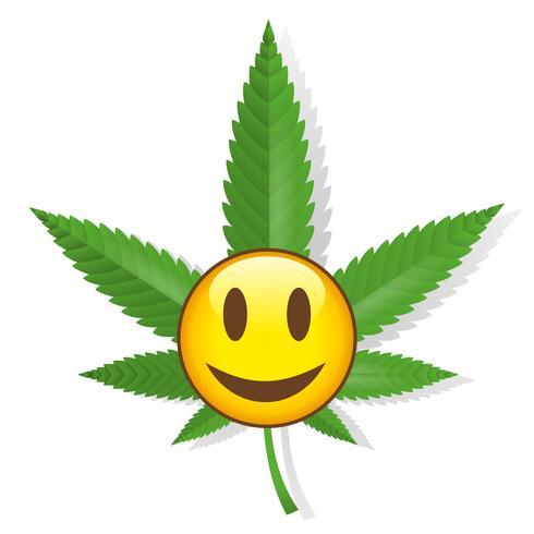 Lächelndes Cannabiszeichen vektor