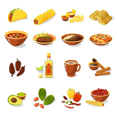 Mexikanisches Essen Set vektor