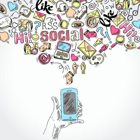 Mobila smartphone sociala medier applikationer vektor