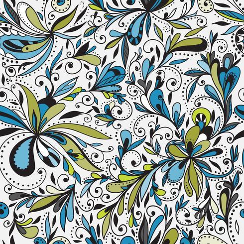 Seamless doodle blommig bakgrund vektor