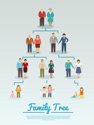 Familienstammbaum flach vektor