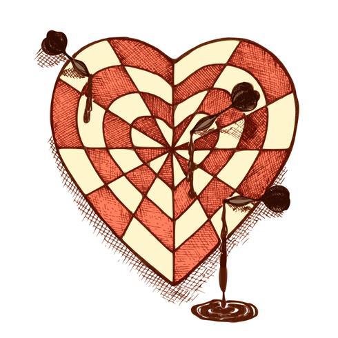 Målformat hjärta med pilar emblem vektor