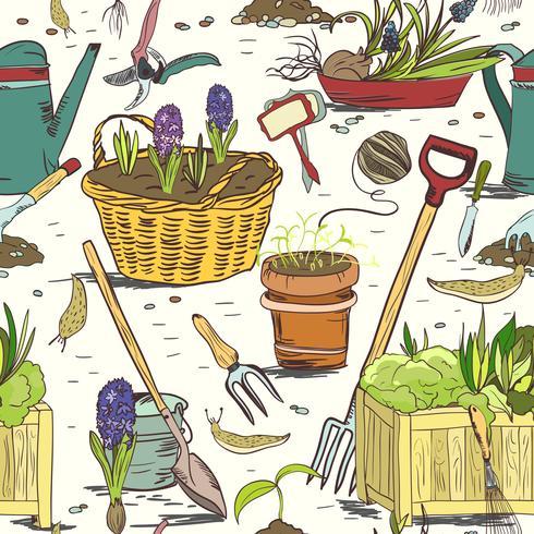 Nahtloser Gartenarbeitwerkzeugmusterhintergrund vektor