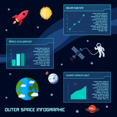 Raum Infographik Satz vektor