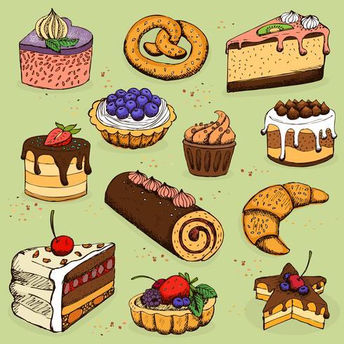 Pasteten und Mehlprodukte für Bäckereien, feine Backwaren vektor