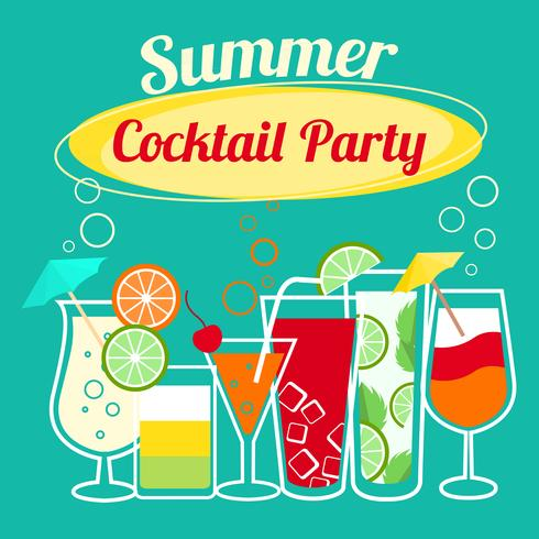 Sommar cocktails party mall vektor