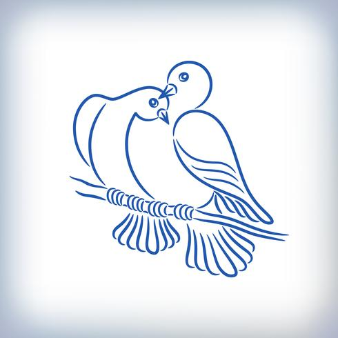 Symbol von zwei schönen Tauben vektor