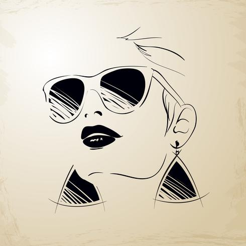 Vintage ung kvinna ansikte vektor