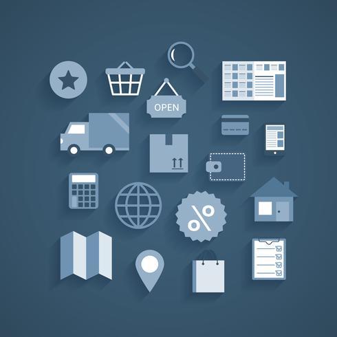 Sammlung von Online-Shopping-Piktogrammen vektor