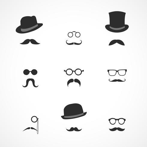 Interface-Elemente Schnurrbart Hüte und Brille vektor