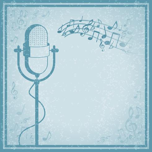 Mikrofon mit Musik auf Weinlesehintergrund vektor