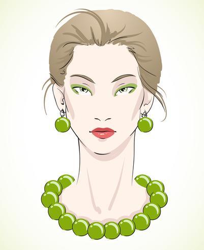 Elegantes junges vorbildliches Portrait mit grünen Perlen vektor