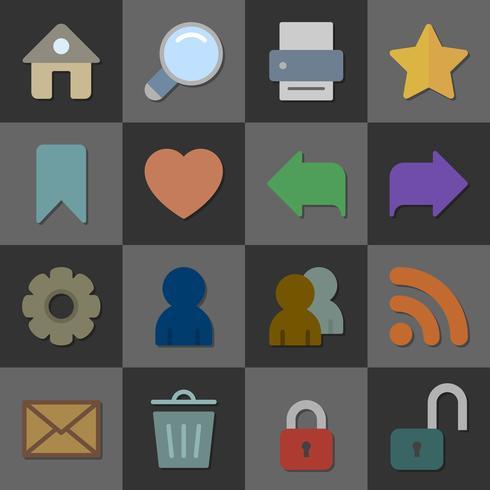 Samling av internet ikoner, färg platt design vektor