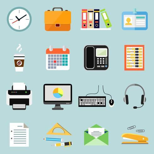 Kontor kontorspapper ikoner uppsättning vektor