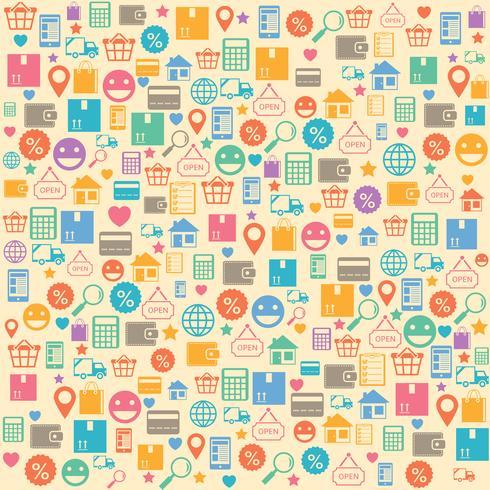 Nahtloses Hintergrundmuster des elektronischen Geschäftsverkehrs online kaufend vektor