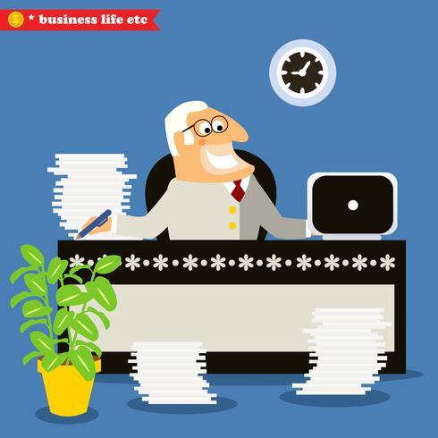 Amerikanischer Chef am Schreibtisch vektor